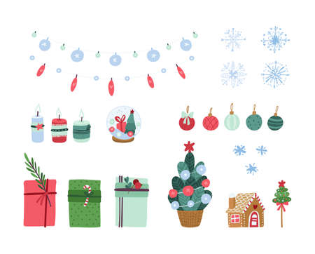 Festive decoration elements - Gingerbread house, Christmas tree, Christmas glass ball. Traditional winter clipart set on a white background Иллюстрация