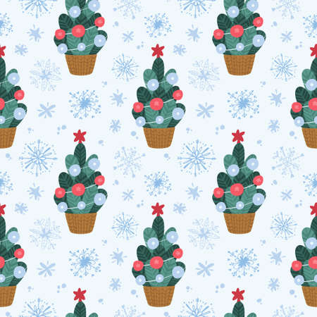 Holiday seamless pattern with christmas tree and snowflakes. Traditional winter season decor.  Digital paper on light blue background Иллюстрация
