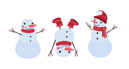 Christmas funny snowman. Traditional winter decor. Holiday clipart on a white background