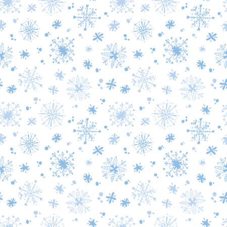 Christmas seamless pattern with snowflakes. Holiday digital paper on white background Иллюстрация