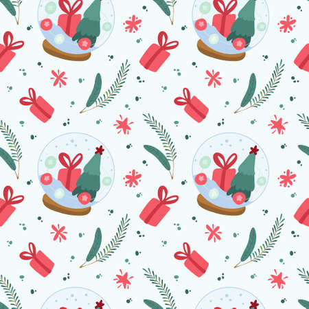 Holiday seamless pattern with Xmas snowballs and spruce branches. Traditional winter season decor. Christmas digital paper on light blue background Иллюстрация