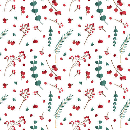 Christmas seamless pattern with winter plants. Traditional winter season botanic decor.  Green branches, red berries on white background