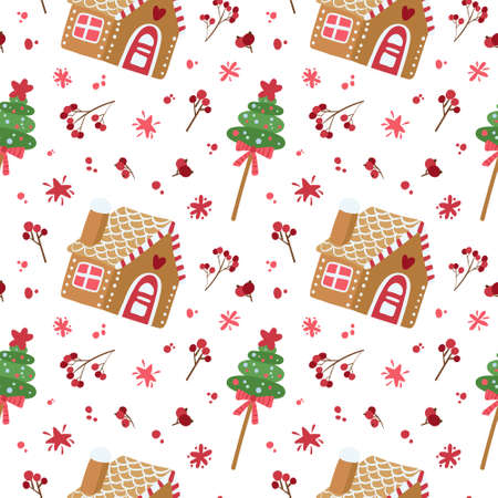 Christmas seamless pattern with gingerbread houses. Traditional holiday food.  Digital paper on white background Иллюстрация