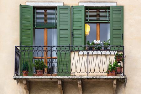 verona: Windows with green blinds, Verona Italy