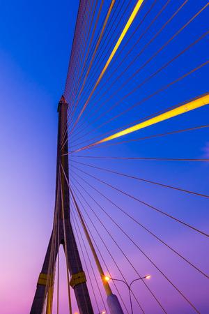 rope bridge: Rama 5 rope bridge in Bangkok, Thailand at twilight Stock Photo