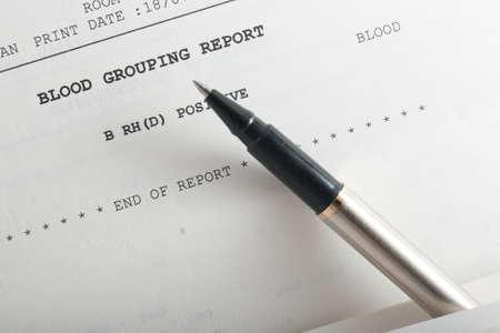 Closeup of blood grouping medical report details. Stock fotó