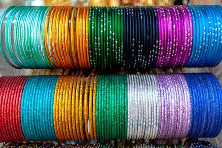 Closeup of Various Indian bangle patterns. Standard-Bild