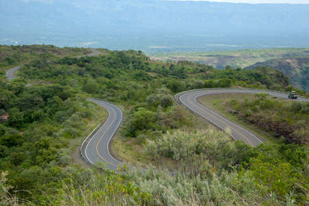 Highway spiral road in the valleys at Kenya
