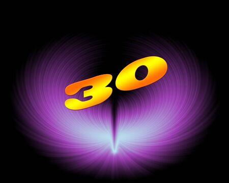30 or 30th anniversary in artistic design