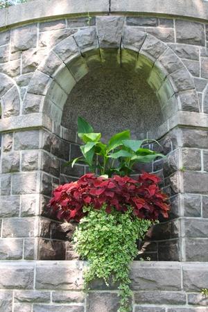niche: rock wall in garden with niche for flower display