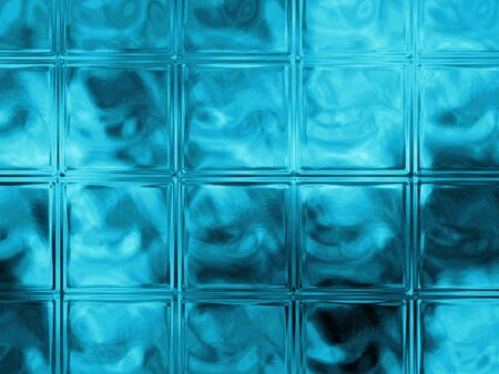 distort: blue glass block wall for background