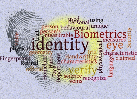 unique characteristics: identity wordcloud with fingerprint illustration Stock Photo