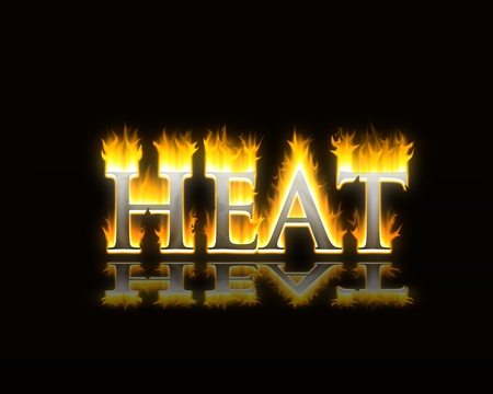 the word heat in flaming fire text