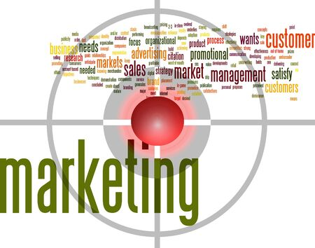 marketing word cloud with bullseye photo