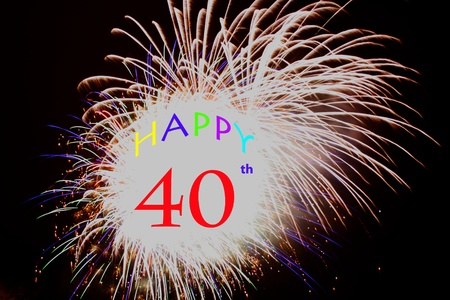 40th anniversary Fireworks explosions on black Stock Photo - 13331266