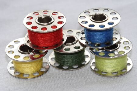 group of colorful  bobbins