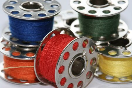colorful bobbins for sewing