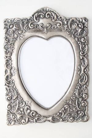 heart shaped pewter picture frame