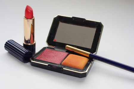 lipstick and rouge and eyeliner pencil