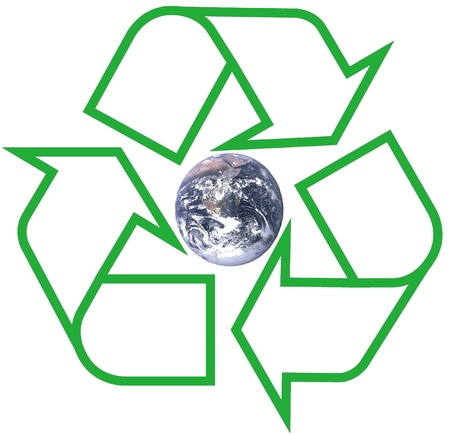 earth within green recycle symbol