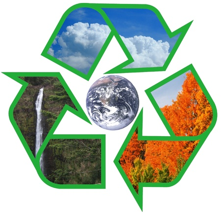 conserve: earth within sky water and trees recycle symbol