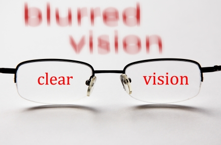 blurred vision and clear vision with eyeglasses concept to test your eyesight photo