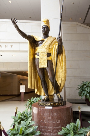 WASHINGTON D.C. - MAY 23 2014: Statue of King Kamehameha I in the Library of Congress in Washington D.C..A great warrior, diplomat and leader, Kamehameha  united the Hawaiian Islands into one royal kingdom in 1810