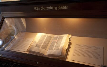 WASHINGTON D.C. - MAY 23 2014: The Gutenberg Bible display at the  Library of Congress in Washington D.C.The Gutenberg Bible, marks the beginning of the printed book and the explosion of knowledge and creativity it would engender.