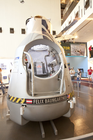 freefall: WASHINGTON D.C. - MAY 24, 2014: The Red Bull Stratos capsule that Felix Baumgartner jumped from in the world - record  longest freefall. The capsule  has an exterior shell comprised of insulated fiberglass.