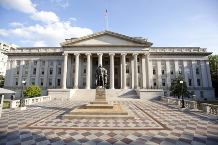 treasury afdeling gebouw in Washington DC Redactioneel