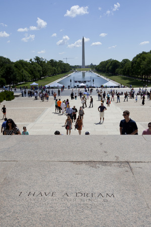 WASHINGTON D.C. - MAY 25 2014: Spot where I Have a Dream speech was delivered by American civil rights activist Martin Luther King, Jr. on August 28, 1963, from the steps of the Lincoln Memorial during the March on Washington.