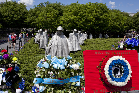 armistice: WASHINGTON D.C. - MAY 25 2014: Sculptures at Korean war veterans memorial in Washington DC. The memorial was dedicated July 27, 1995, the 42nd anniversary of the armistice ending the war. Editorial