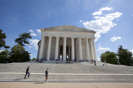 WASHINGTON D.C. - MAY 25 2014: The Thomas Jefferson Memorial, modeled after the Pantheon of Rome, is Americas foremost memorial to Americas third president. As an original adaptation of Neoclassical architecture, it is a key landmark in the monumental c