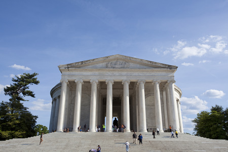 WASHINGTON D.C. - MAY 25 2014: The Thomas Jefferson Memorial, modeled after the Pantheon of Rome, is America's foremost memorial to America's third president. As an original adaptation of Neoclassical architecture, it is a key landmark in the monumental c