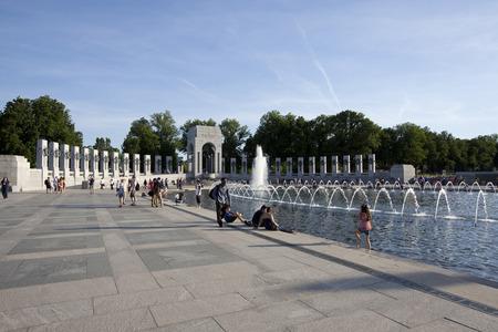 WASHINGTON D.C. - MAY 25 2014: World War II Memorial with tourists.