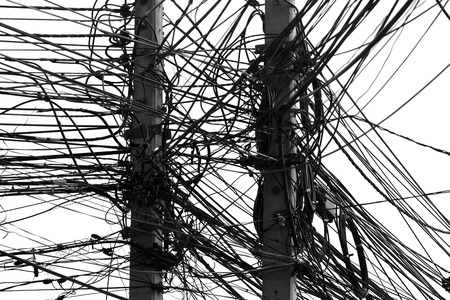 conductor electricity: electricity post with many wire, dreamy color background