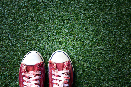 shoes: a red shoes on the lawn