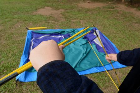 set up: set up the tent