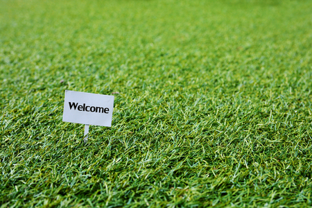 garden lawn: Welcome Sign on grass, green lawn, with space for caption, dreamy color