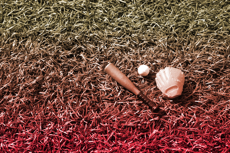 baseball dugout: baseball equipment on lawn, model figure, dreamy color