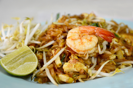 padthai: Padthai, stirfry noodle with Thai sauce, Thai famous dish Stock Photo