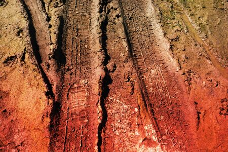 off highway: abstract wheel trail, dry soil, sweet dreamy