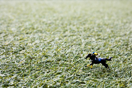 Jockey and horse toy racing on the turf. Stock Photo