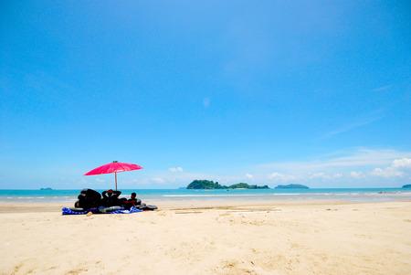 Seascape with white beach