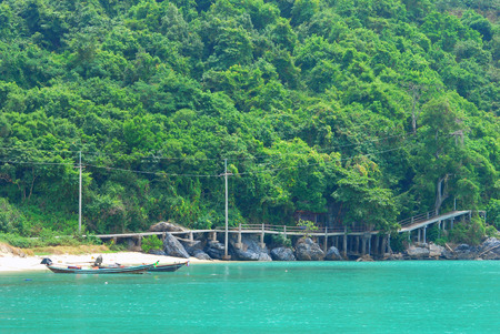 landscape with boat ,bridge ,hill and sea Stockfoto