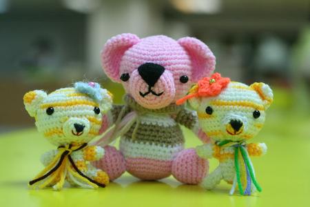 crochet yarn doll family Stock fotó