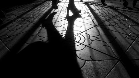 silhouette of man walking Stock fotó