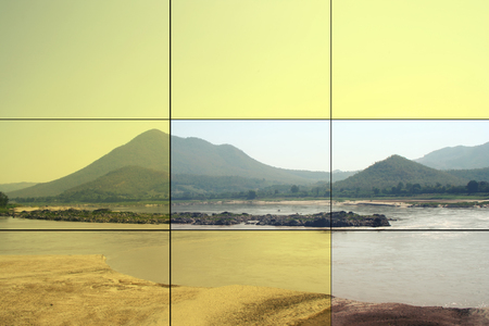 mountain view  landscape in path of picture