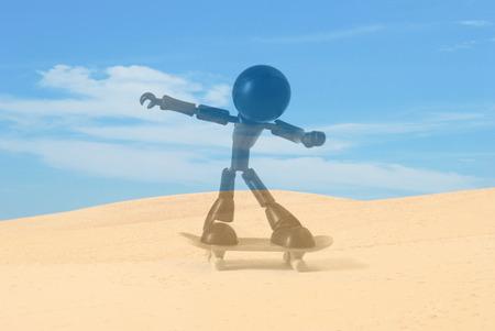 Black figure model play skateboard on Beautiful Sad Dune with blue sky at Muine, Vietnam