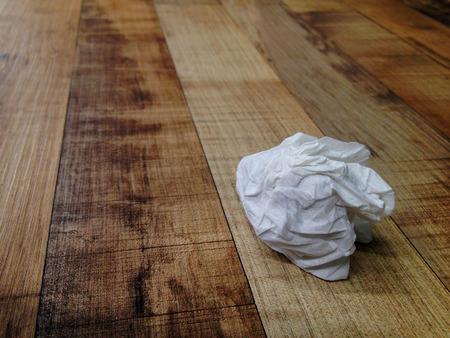 Tissue paper trash on the floor